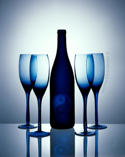 Blue wine bottle and glasses