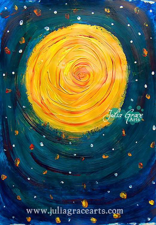 Acrylic painting of the sun in space in a style reminiscent of Van Gogh