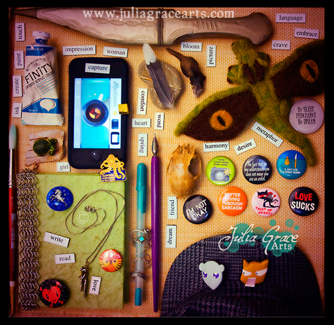 A photograph of a collection of items that represent Julia Grace