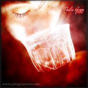 A red-hued photograph of girl drinking a mysterious bright red liquid from a glowing glass