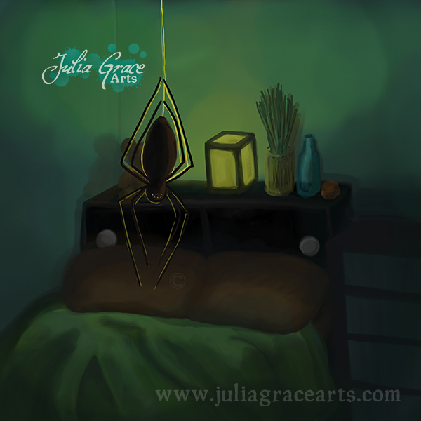 A digital painting of a spider hanging above a bed using ArtRage