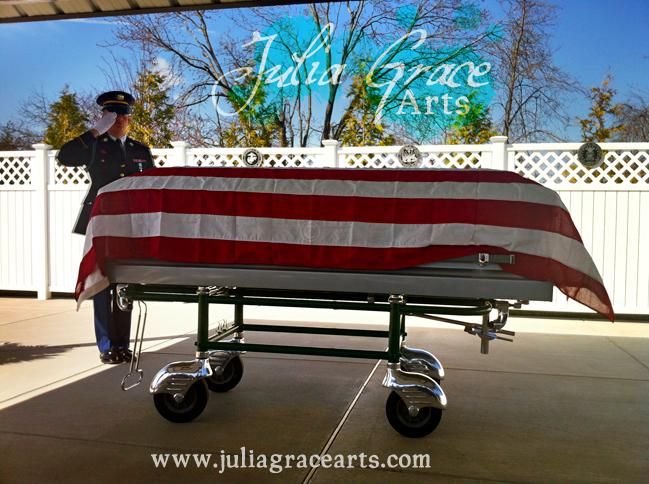 USA Flag Draped Coffin