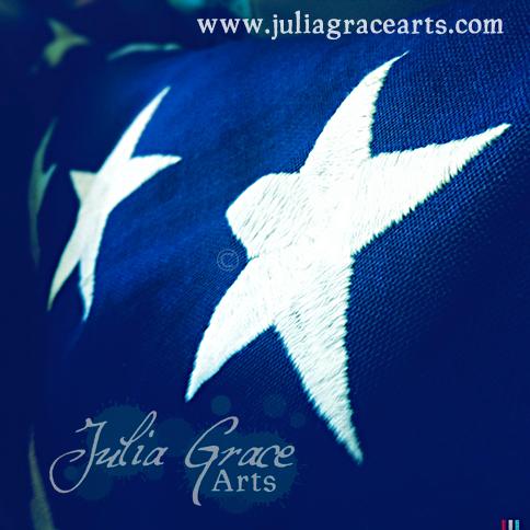 The stars on a folded USA flag