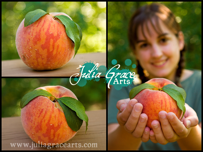 A triptych of photographs of a Giant Peach And A Farm Girl
