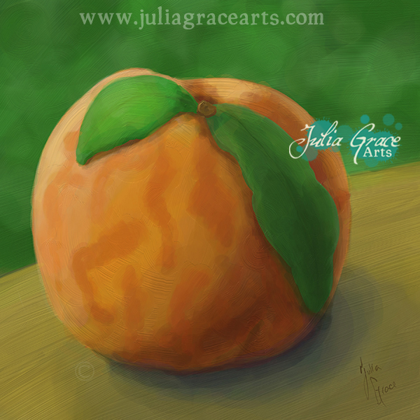 Digital oil painting of a peach using ArtRage