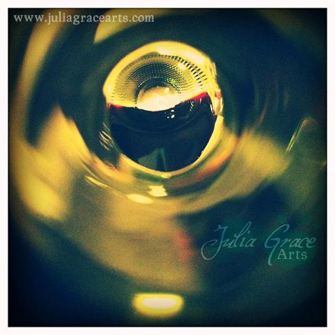 Peering into a wine bottle