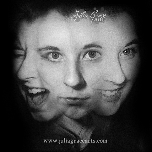 Triple exposure portrait of smiling, screaming, and neutral faces
