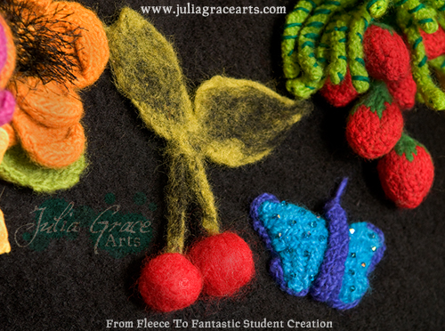 Needle Felted Cherries attached to a purse