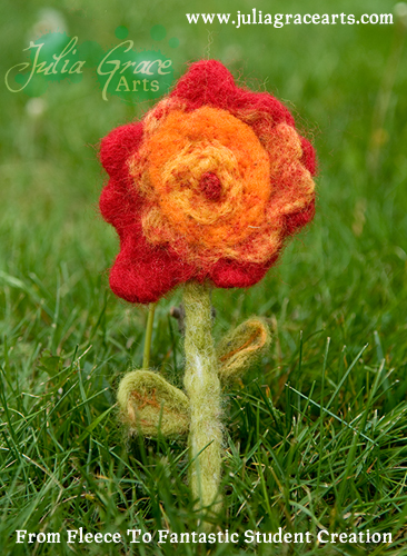 Handmade Felted Wool Flower