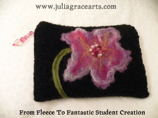Wool Flower needle felted on clutch purse