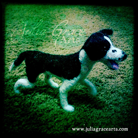 Blocking in the fur colors for the needle felted border collie