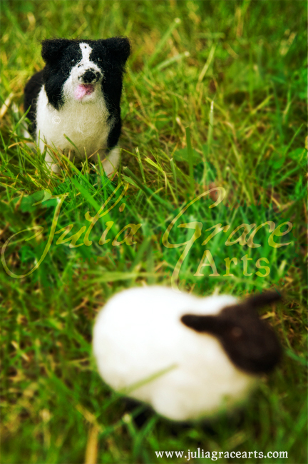 Needle felted border collie dog and sheep