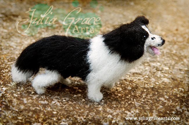 Needle felted border collie detail