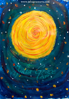 Acrylic Painting Of The Sun in Van Gogh Style