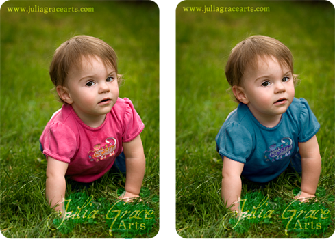 Digitally changing the shirt color on a toddler