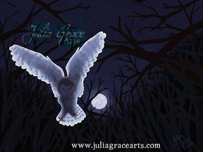 Digital painting of a barn owl in flight