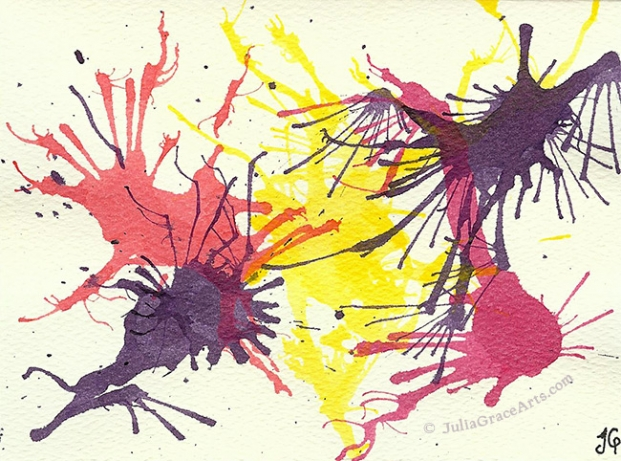 Blown Ink Using Magenta, Orange, Yellow, and Purple Inks