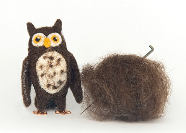 Needle Felted Owl With Raw Wool Fleece