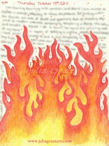 Water Color Pencil Flame Art Journal Page