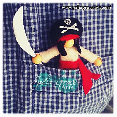 Handmade Pirate Pocket Doll In Pocket