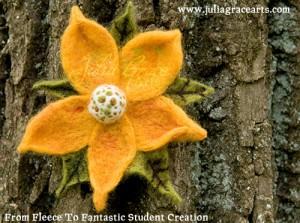 Needle Felted Flower Broach