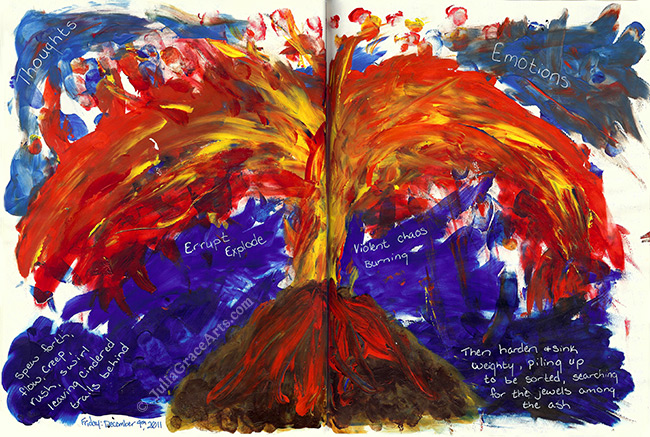 Art Journaling Page With Acrylic Painting of Volcano