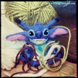 A wool sculpture Stitch from Disney