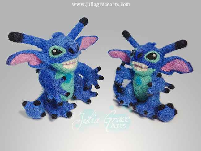 Two needle felted wool sculpture Disney