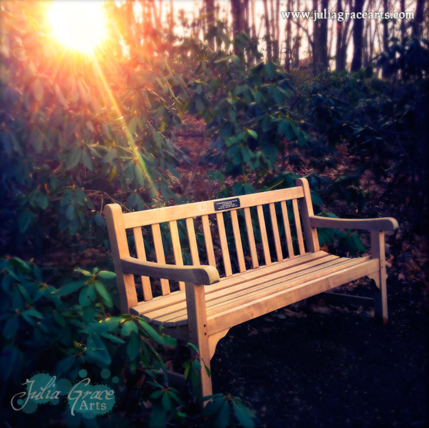 A Hipstamatic photograph of a sun ray touching a bench in remembrance of my grandfather