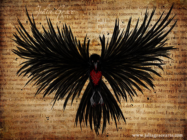 A digital painting of an artistic raven on a page of John Keat