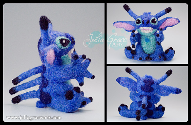 Multiple views of my needle felted Stitch