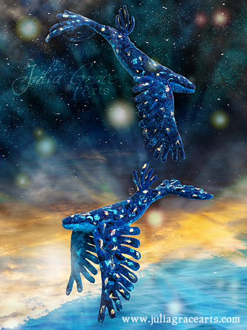 Two wool sculpture sky whales swiming in space