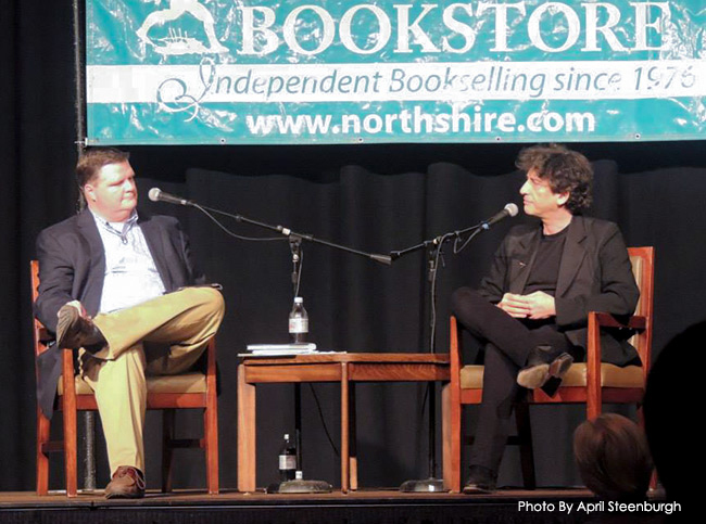 Neil Gaiman being interviewed for the Off The Shelf radio program for the Northshire Book Store for the Ocean At The End Of The Lane tour