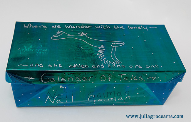 A special iridescent box made to hole the wool sculpture sky whale for Neil Gaiman